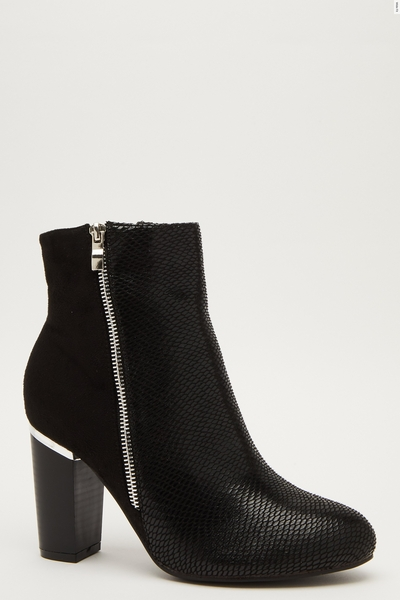 Wide Fit Snake Print Ankle Boots